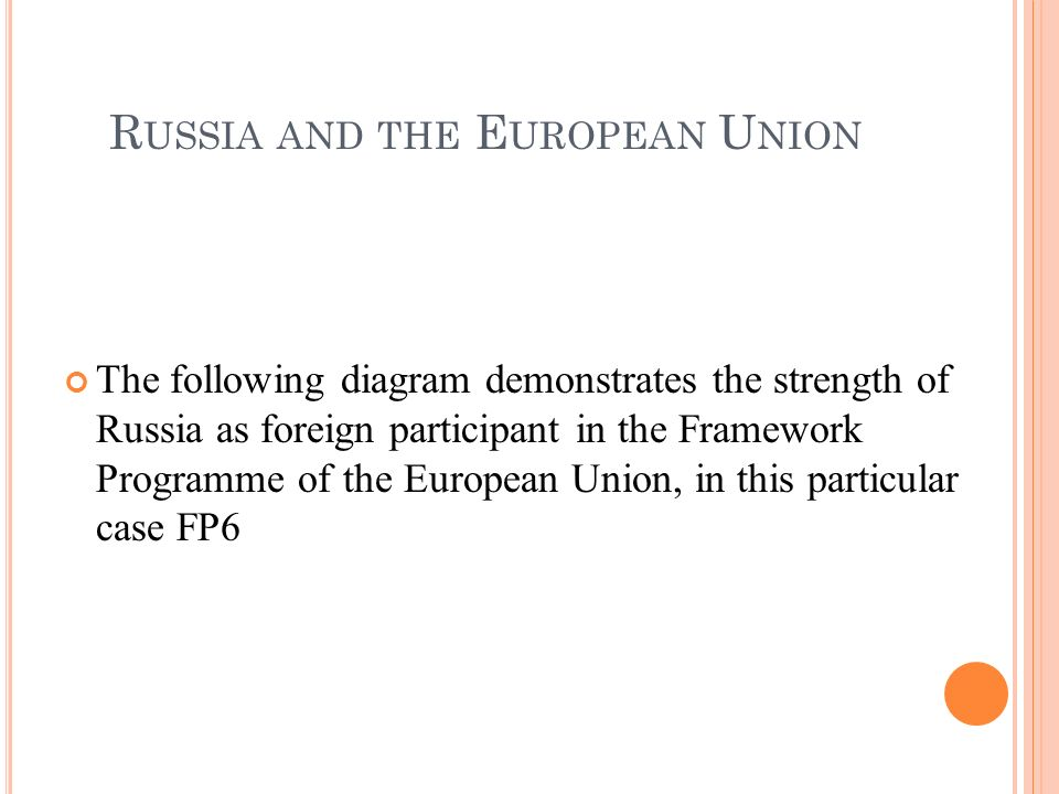 The following diagram demonstrates the strength of Russia as foreign participant in the Framework Programme of the European Union, in this particular case FP6 R USSIA AND THE E UROPEAN U NION