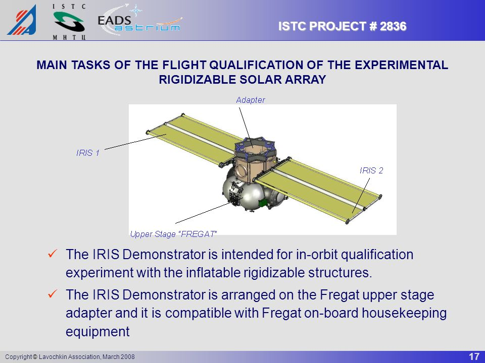 17 Copyright © Lavochkin Association, March 2008 ISTC PROJECT # 2836 MAIN TASKS OF THE FLIGHT QUALIFICATION OF THE EXPERIMENTAL RIGIDIZABLE SOLAR ARRA