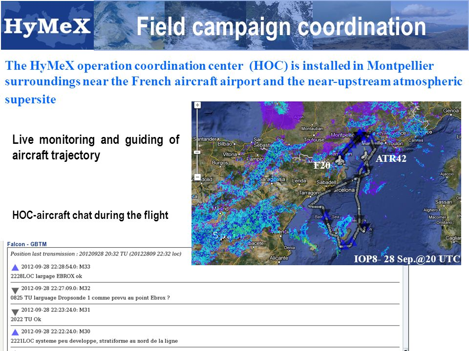 Field campaign coordination The HyMeX operation coordination center (HOC) is installed in Montpellier surroundings near the French aircraft airport and the near-upstream atmospheric supersite Live monitoring and guiding of aircraft trajectory HOC-aircraft chat during the flight F20 ATR42 IOP8- 28 UTC