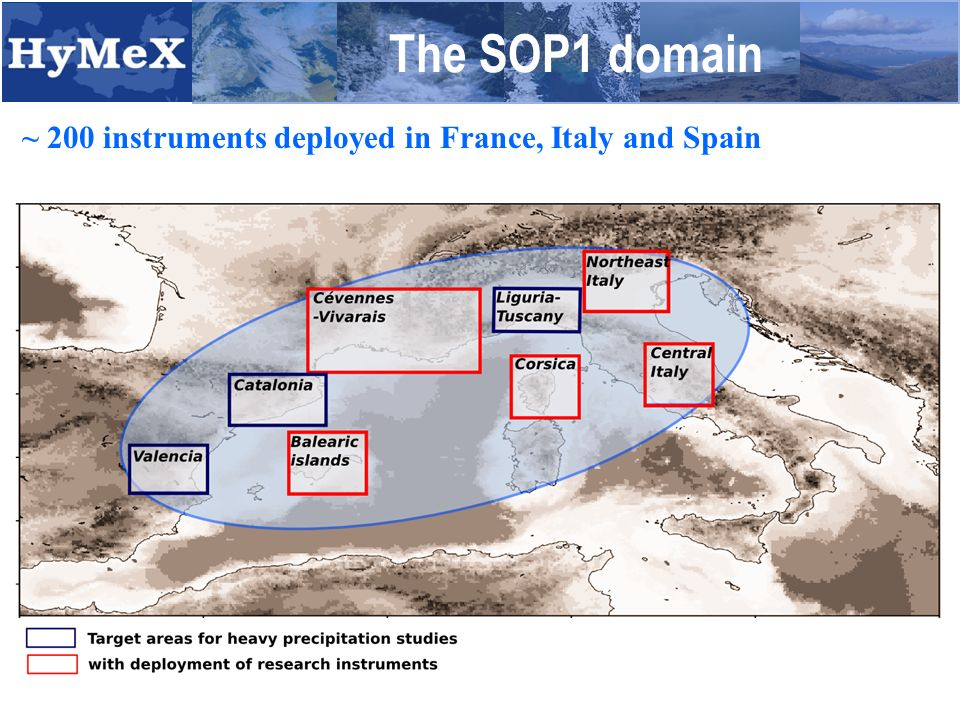 The SOP1 domain ~ 200 instruments deployed in France, Italy and Spain