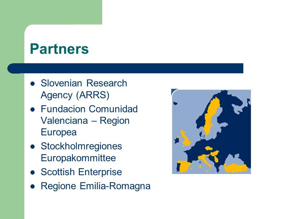 Partners Slovenian Research Agency (ARRS) Fundacion Comunidad Valenciana – Region Europea Stockholmregiones Europakommittee Scottish Enterprise Region
