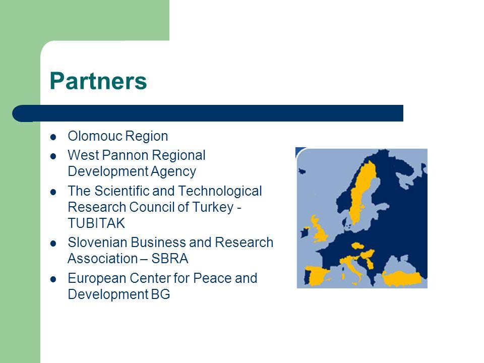 Partners Olomouc Region West Pannon Regional Development Agency The Scientific and Technological Research Council of Turkey - TUBITAK Slovenian Busine