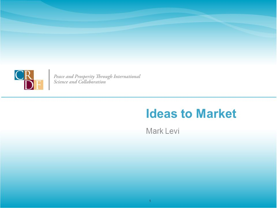 Ideas to Market Mark Levi 1