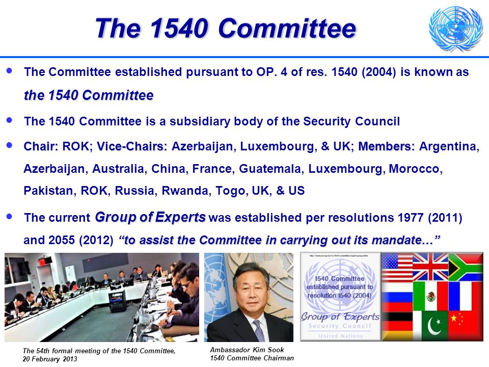 The1540 Committee and its Experts The 1540 Committee and its Experts Receive and examine reports to monitor implementationReceive and examine reports to monitor implementation Promote greater awareness of resolution 1540, including by outreach and dialogue with Member StatesPromote greater awareness of resolution 1540, including by outreach and dialogue with Member States Facilitate capacity building and assistance by providing a clearing house functionFacilitate capacity building and assistance by providing a clearing house function Tools:Tools: oNational matrices oTemplate for assistance requests o1540 Committee website Ways and Means:Ways and Means: oCooperation with other organizations oOutreach events oVisits to States at their invitation http://www.un.org/sc/1540