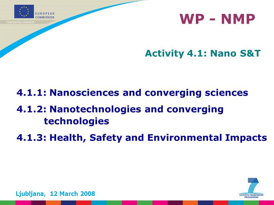 Ljubljana, 12 March 2008 WP - NMP Activity 4.1: Nano S&T 4.1.1: Nanosciences and converging sciences 4.1.2: Nanotechnologies and converging technologies 4.1.3: Health, Safety and Environmental Impacts