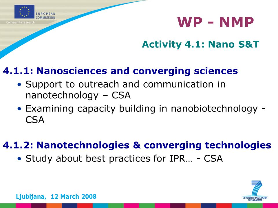 Ljubljana, 12 March 2008 Activity 4.1: Nano S&T 4.1.1: Nanosciences and converging sciences Support to outreach and communication in nanotechnology – CSA Examining capacity building in nanobiotechnology - CSA WP - NMP 4.1.2: Nanotechnologies & converging technologies Study about best practices for IPR… - CSA