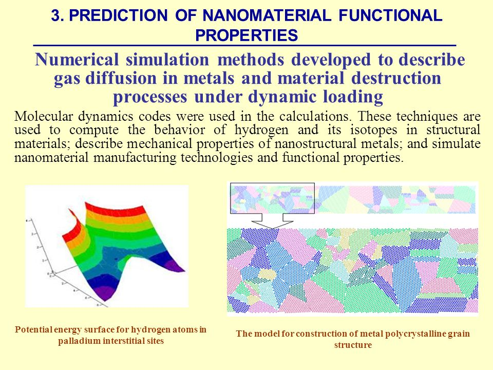 Numerical simulation methods developed to describe gas diffusion in metals and material destruction processes under dynamic loading Molecular dynamics codes were used in the calculations.