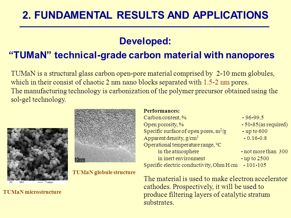 Developed: TUMaN technical-grade carbon material with nanopores Performances: Carbon content, % Open porosity, % (as required) Specific surface of open pores, m 2 /g - up to 600 Apparent density, g/cm Operational temperature range, о С in the atmosphere - not more than 300 in inert environment - up to 2500 Specific electric conductivity, Ohm H cm The material is used to make electron accelerator cathodes.