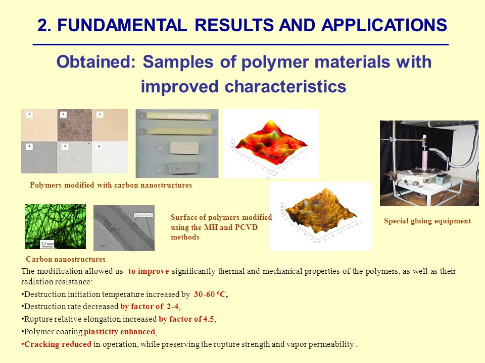 Obtained: Samples of polymer materials with improved characteristics The modification allowed us to improve significantly thermal and mechanical properties of the polymers, as well as their radiation resistance: Destruction initiation temperature increased by 30-60 о С, Destruction rate decreased by factor of 2-4, Rupture relative elongation increased by factor of 4.5, Polymer coating plasticity enhanced, Cracking reduced in operation, while preserving the rupture strength and vapor permeability.