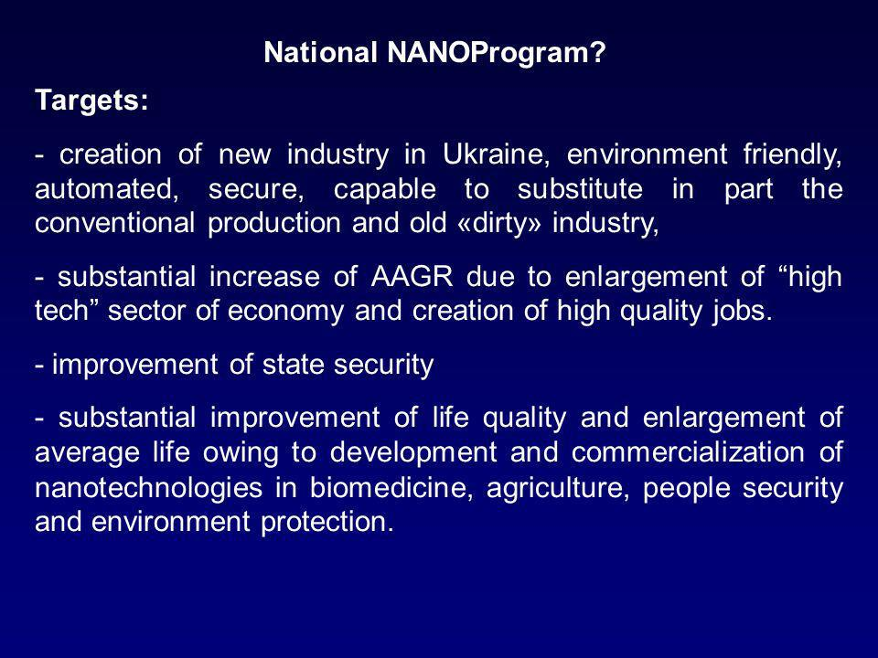Targets: - creation of new industry in Ukraine, environment friendly, automated, secure, capable to substitute in part the conventional production and old «dirty» industry, - substantial increase of AAGR due to enlargement of high tech sector of economy and creation of high quality jobs.