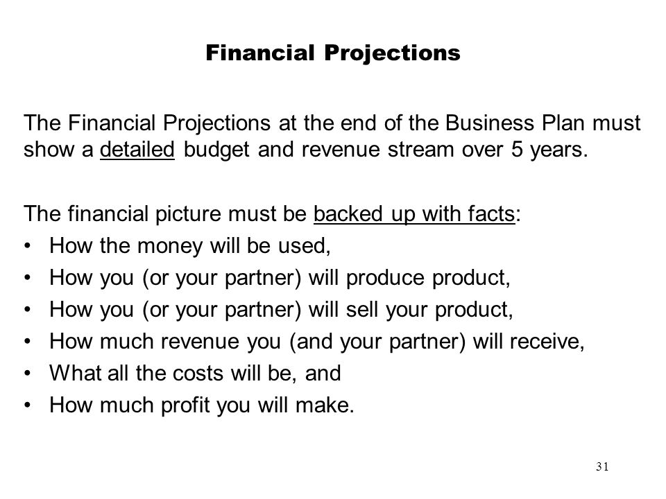 31 Financial Projections The Financial Projections at the end of the Business Plan must show a detailed budget and revenue stream over 5 years. The fi