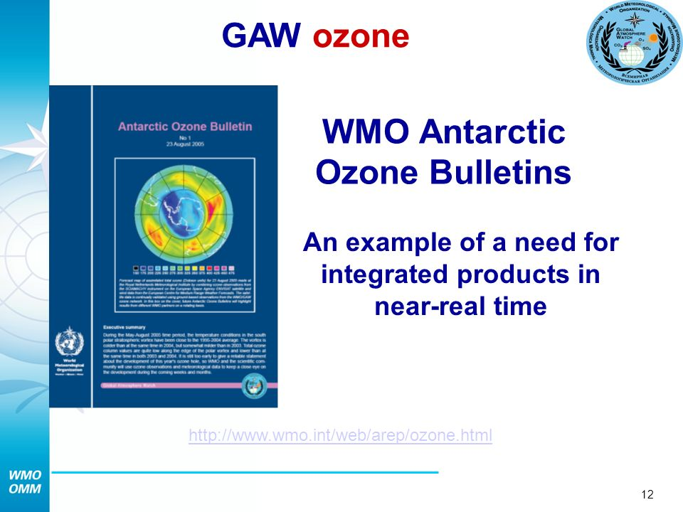 12 WMO Antarctic Ozone Bulletins An example of a need for integrated products in near-real time http://www.wmo.int/web/arep/ozone.html GAW ozone