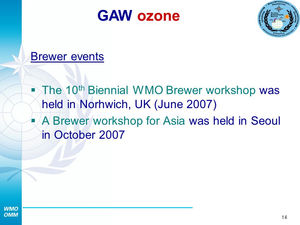 14 Brewer events The 10 th Biennial WMO Brewer workshop was held in Norhwich, UK (June 2007) A Brewer workshop for Asia was held in Seoul in October 2007 GAW ozone