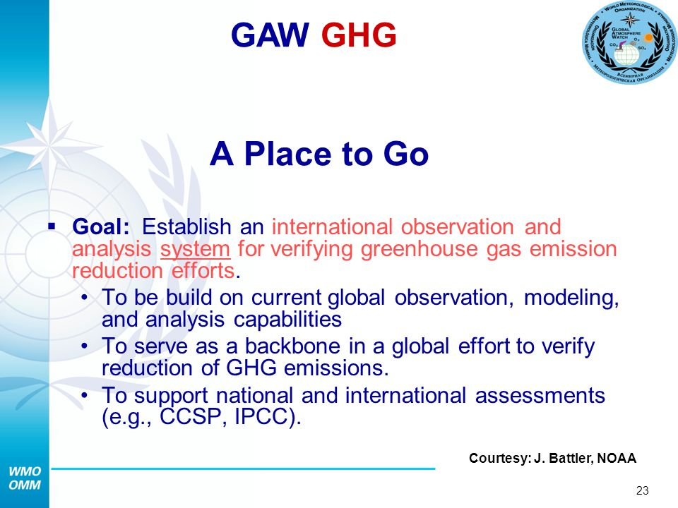 23 A Place to Go Goal: Establish an international observation and analysis system for verifying greenhouse gas emission reduction efforts.