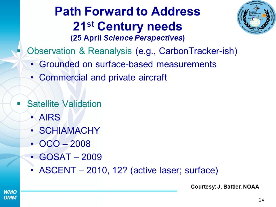 24 Path Forward to Address 21 st Century needs (25 April Science Perspectives) Observation & Reanalysis (e.g., CarbonTracker-ish) Grounded on surface-based measurements Commercial and private aircraft Satellite Validation AIRS SCHIAMACHY OCO – 2008 GOSAT – 2009 ASCENT – 2010, 12.