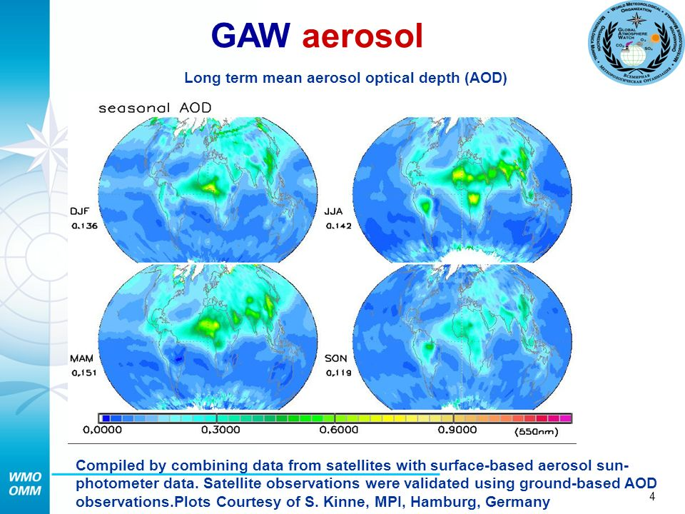 4 Compiled by combining data from satellites with surface-based aerosol sun- photometer data.