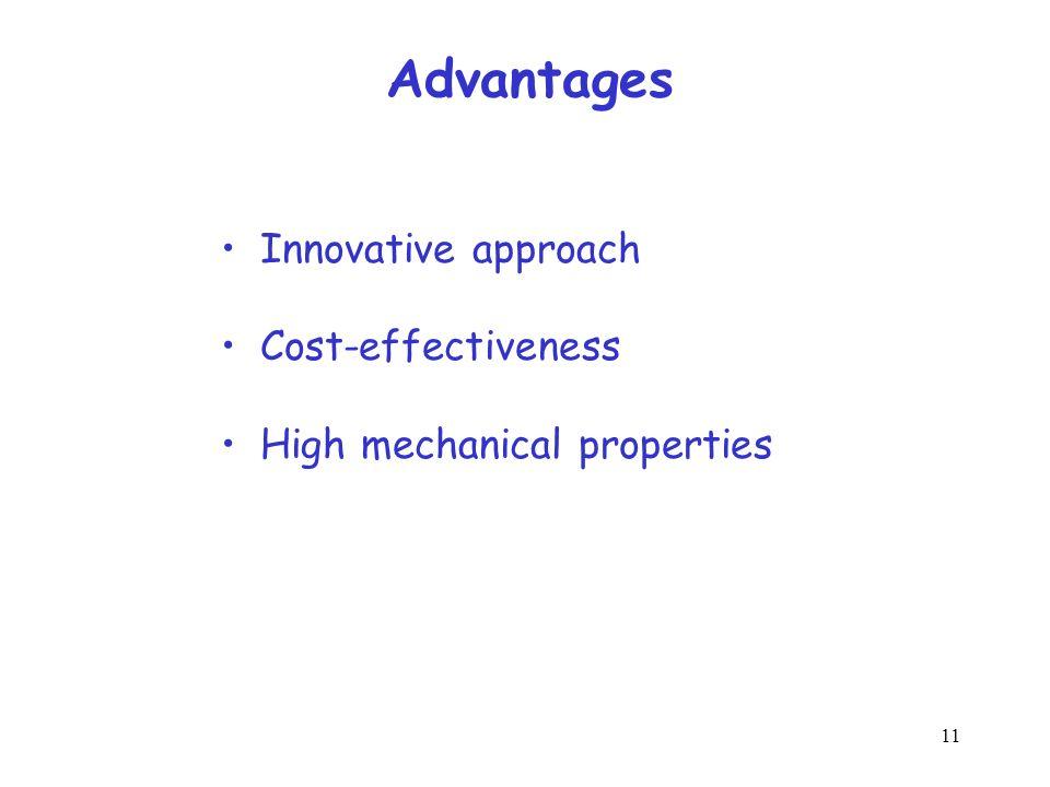 11 Advantages Innovative approach Cost-effectiveness High mechanical properties