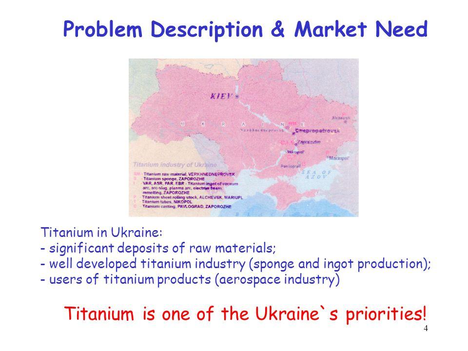 4 Problem Description & Market Need Titanium in Ukraine: - significant deposits of raw materials; - well developed titanium industry (sponge and ingot production); - users of titanium products (aerospace industry) Titanium is one of the Ukraine`s priorities!