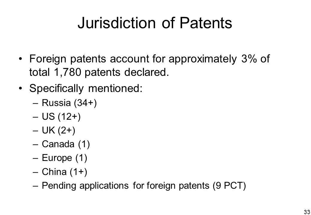 33 Jurisdiction of Patents Foreign patents account for approximately 3% of total 1,780 patents declared. Specifically mentioned: –Russia (34+) –US (12