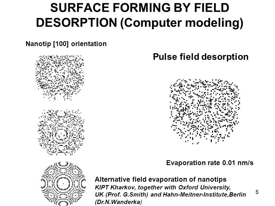 5 SURFACE FORMING BY FIELD DESORPTION (Computer modeling) Pulse field desorption Nanotip [100] orientation Evaporation rate 0.01 nm/s Alternative fiel