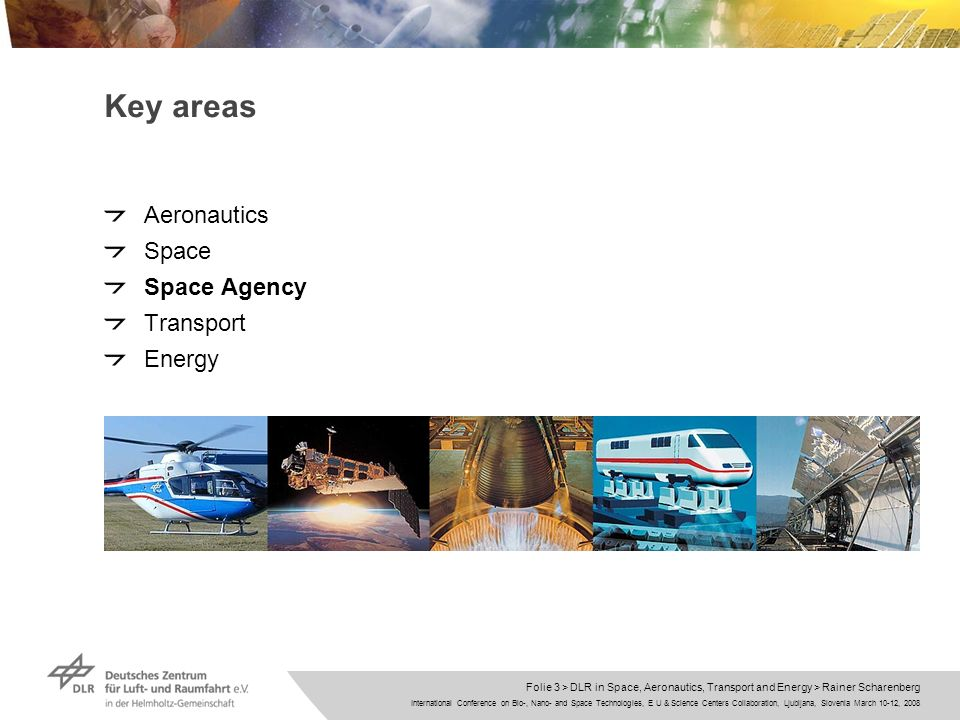 International Conference on Bio-, Nano- and Space Technologies, E U & Science Centers Collaboration, Ljubljana, Slovenia March 10-12, 2008 Folie 3 > DLR in Space, Aeronautics, Transport and Energy > Rainer Scharenberg Key areas Aeronautics Space Space Agency Transport Energy