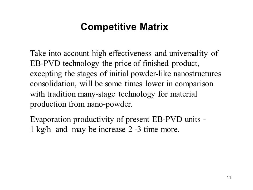 11 Competitive Matrix Take into account high effectiveness and universality of EB-PVD technology the price of finished product, excepting the stages o