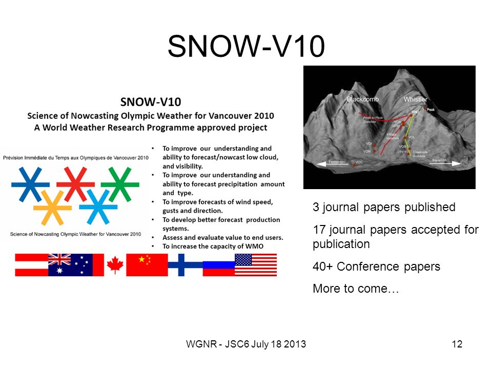 WGNR - JSC6 July 18 201312 SNOW-V10 3 journal papers published 17 journal papers accepted for publication 40+ Conference papers More to come…