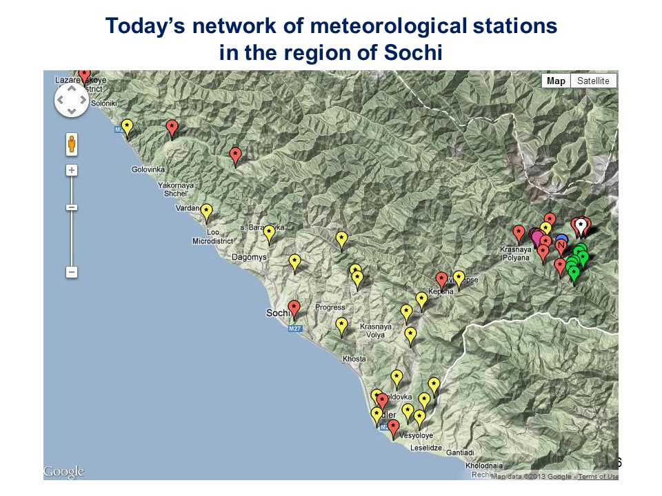WGNR - JSC6 July 18 201316 Todays network of meteorological stations in the region of Sochi