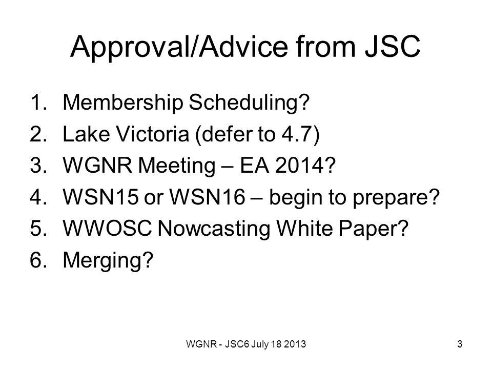 WGNR - JSC6 July 18 201344 WGNR + WGMWFR WWW CBS CIMO CAS WWRP GDPFS PWS WGNR WGMWFR HIW WGNE DAOS JONAS Initiated by WWRP Telecon, WGMWFR in June 2013 No discussion within WGNR