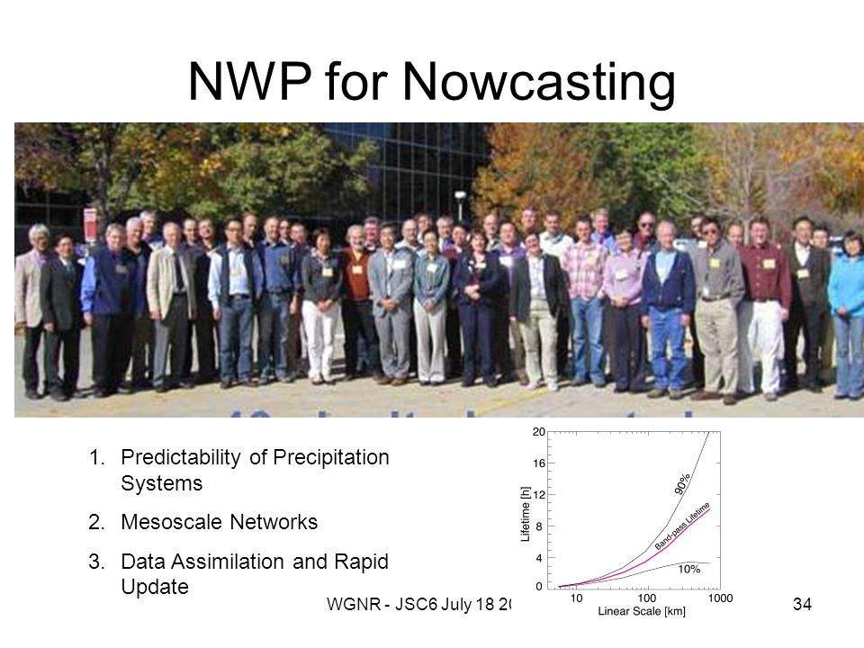 WGNR - JSC6 July 18 201334 NWP for Nowcasting 1.Predictability of Precipitation Systems 2.Mesoscale Networks 3.Data Assimilation and Rapid Update