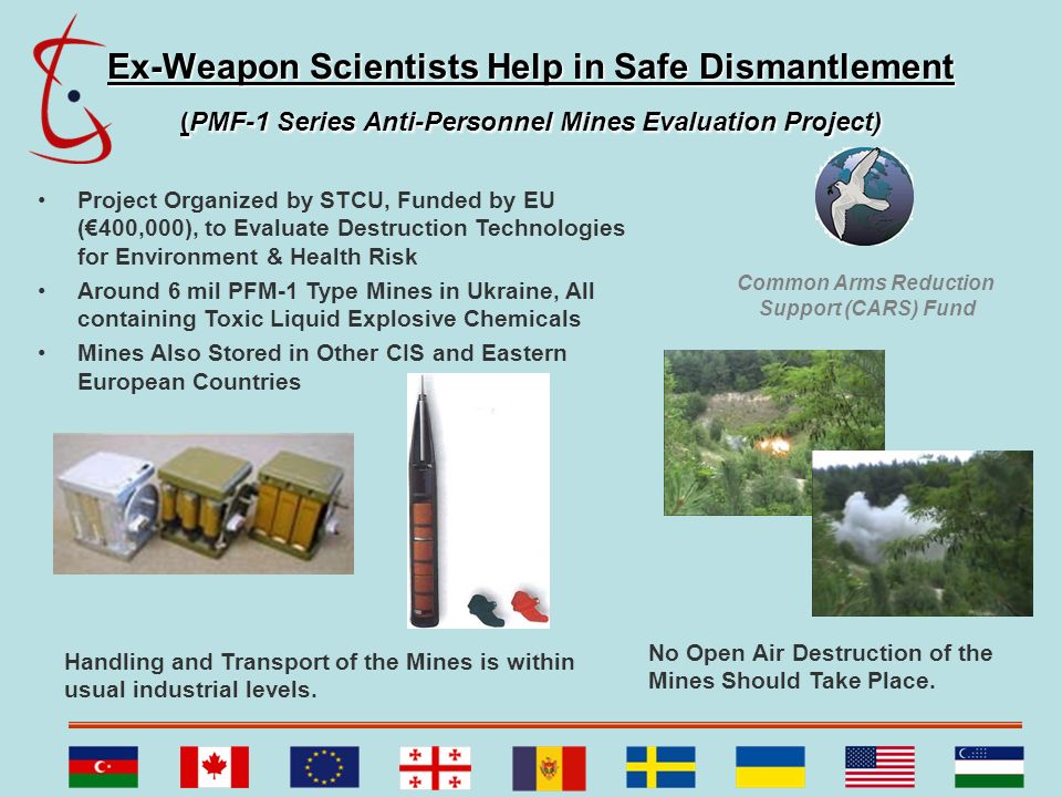 Ex-Weapon Scientists Help in Safe Dismantlement (PMF-1 Series Anti-Personnel Mines Evaluation Project) Project Organized by STCU, Funded by EU (400,00