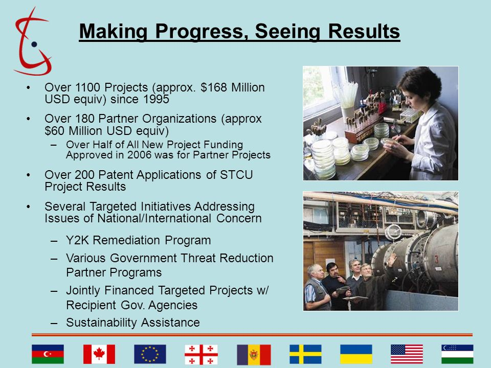 Making Progress, Seeing Results Over 1100 Projects (approx. $168 Million USD equiv) since 1995 Over 180 Partner Organizations (approx $60 Million USD