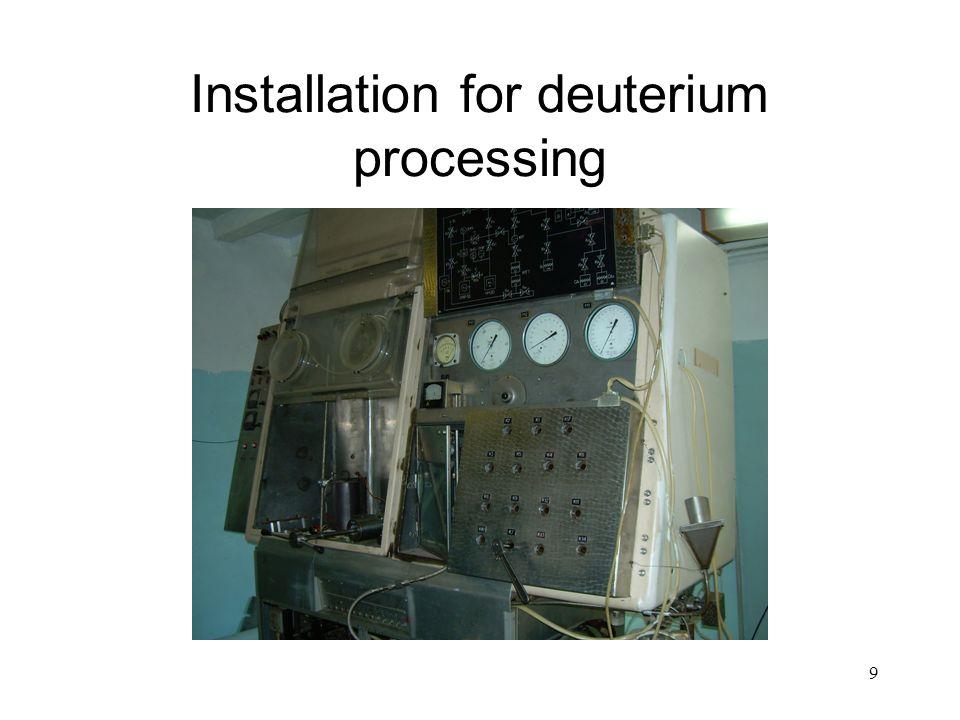 9 Installation for deuterium processing
