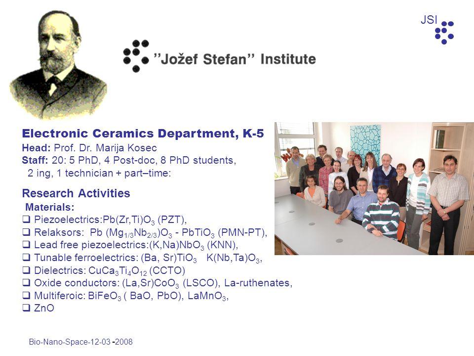 JSI Bio-Nano-Space-12-03 - 2008 Electronic Ceramics Department, K-5 Head: Prof. Dr. Marija Kosec Staff: 20: 5 PhD, 4 Post-doc, 8 PhD students, 2 ing,