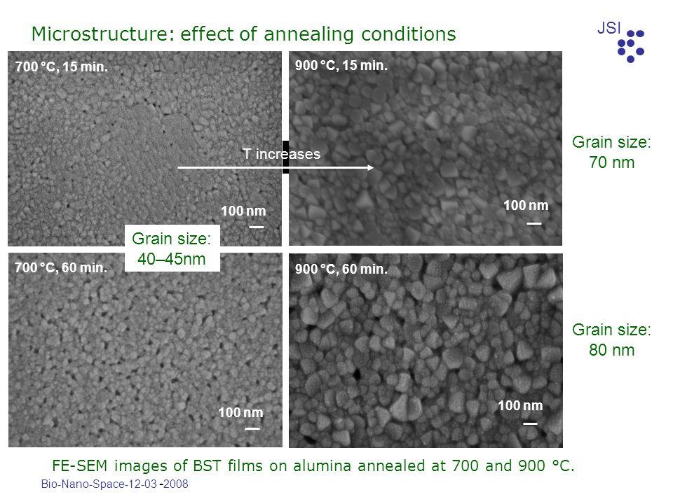JSI Bio-Nano-Space-12-03 - 2008 700 °C, 15 min. 100 nm 700 °C, 60 min. 100 nm 900 °C, 15 min. 100 nm 900 °C, 60 min. 100 nm FE-SEM images of BST films