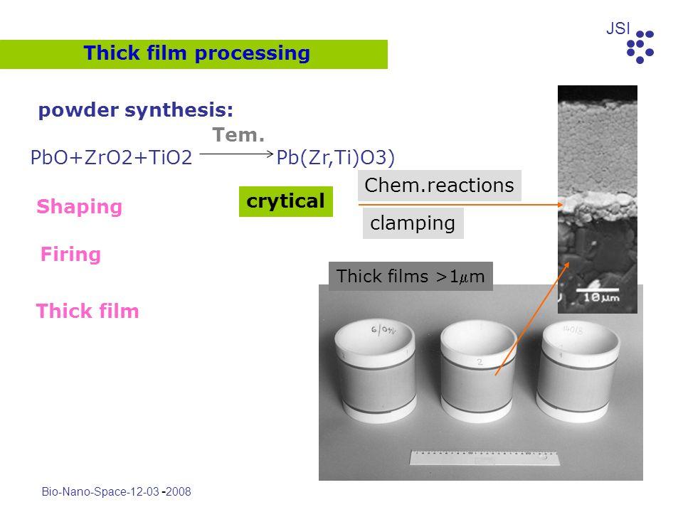 JSI Bio-Nano-Space-12-03 - 2008 Thick film processing crytical PbO+ZrO2+TiO2 Pb(Zr,Ti)O3) powder synthesis: Shaping Firing Thick film Tem. Thick films
