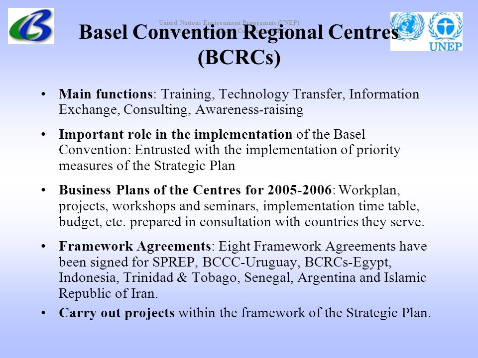 United Nations Environment Programme (UNEP) Secretariat of the Basel Convention (SBC) Basel Convention Regional Centres (BCRCs) Main functions: Training, Technology Transfer, Information Exchange, Consulting, Awareness-raising Important role in the implementation of the Basel Convention: Entrusted with the implementation of priority measures of the Strategic Plan Business Plans of the Centres for 2005-2006: Workplan, projects, workshops and seminars, implementation time table, budget, etc.