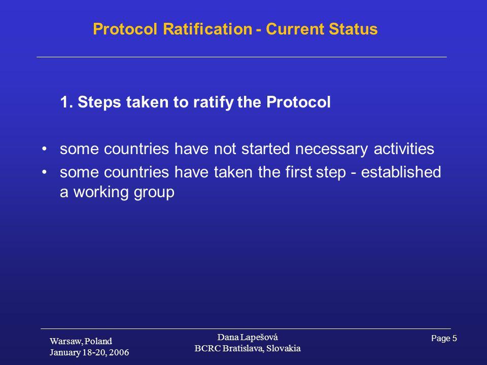 Page 5 Warsaw, Poland January 18-20, 2006 Dana Lapešová BCRC Bratislava, Slovakia Protocol Ratification - Current Status 1.