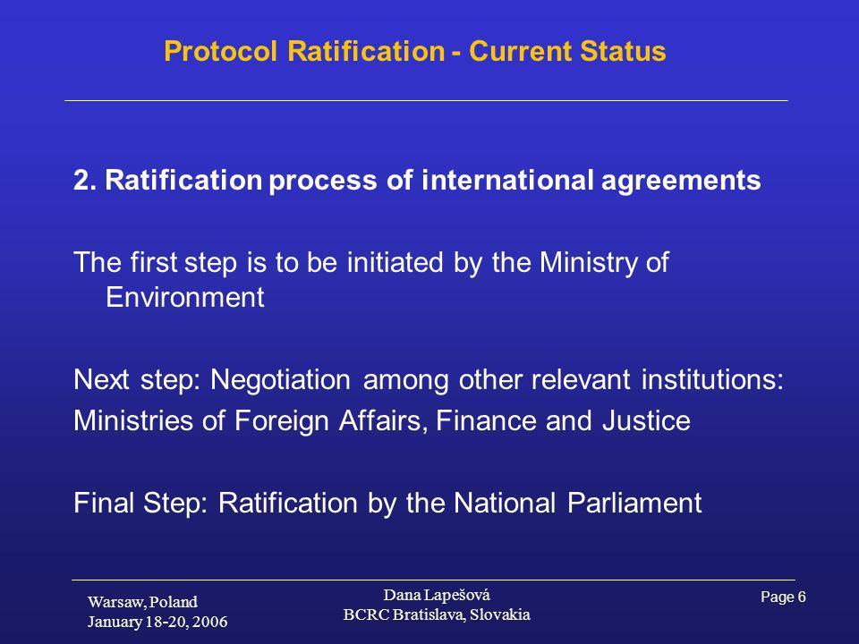 Page 6 Warsaw, Poland January 18-20, 2006 Dana Lapešová BCRC Bratislava, Slovakia Protocol Ratification - Current Status 2.