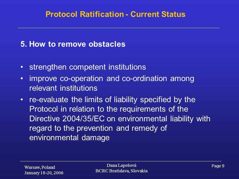 Page 9 Warsaw, Poland January 18-20, 2006 Dana Lapešová BCRC Bratislava, Slovakia Protocol Ratification - Current Status 5.