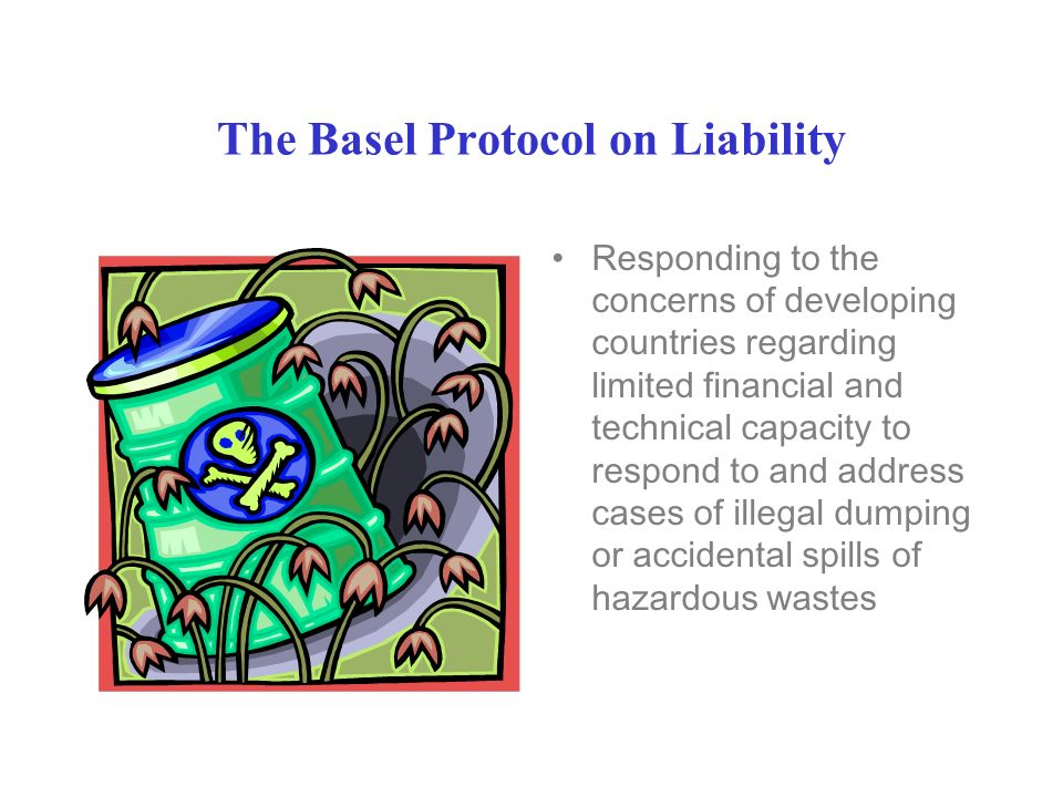 The Basel Protocol on Liability Responding to the concerns of developing countries regarding limited financial and technical capacity to respond to and address cases of illegal dumping or accidental spills of hazardous wastes