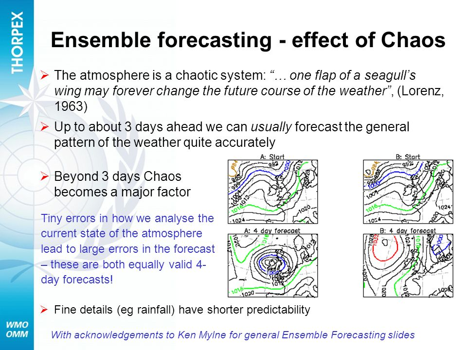 Ensemble forecasting - effect of Chaos The atmosphere is a chaotic system: … one flap of a seagulls wing may forever change the future course of the w