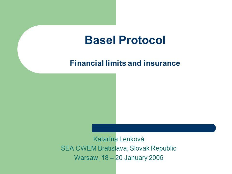 Basel Protocol Financial limits and insurance Katarína Lenková SEA CWEM Bratislava, Slovak Republic Warsaw, 18 – 20 January 2006