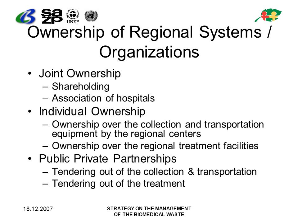 18.12.2007 STRATEGY ON THE MANAGEMENT OF THE BIOMEDICAL WASTE Ownership of Regional Systems / Organizations Joint Ownership –Shareholding –Association
