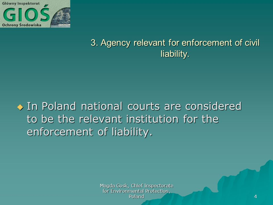 Magda Gosk, Chief Inspectorate for Environmental Protection, Poland 4 3.