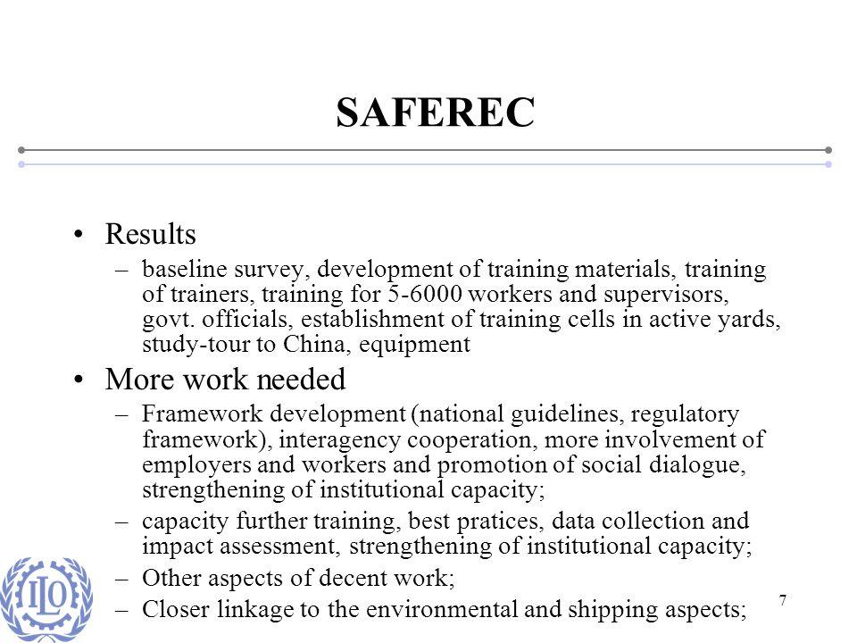 7 SAFEREC Results –baseline survey, development of training materials, training of trainers, training for 5-6000 workers and supervisors, govt. offici