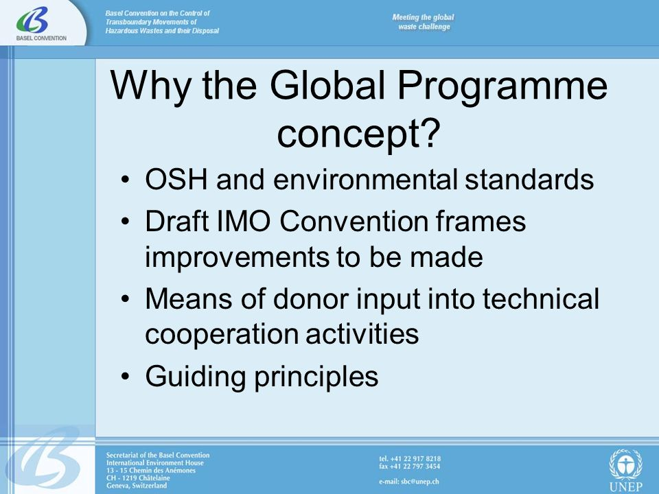 Why the Global Programme concept.