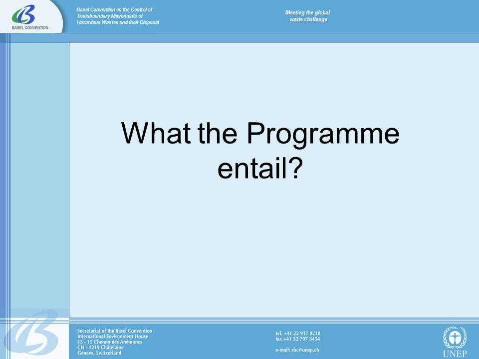 What the Programme entail