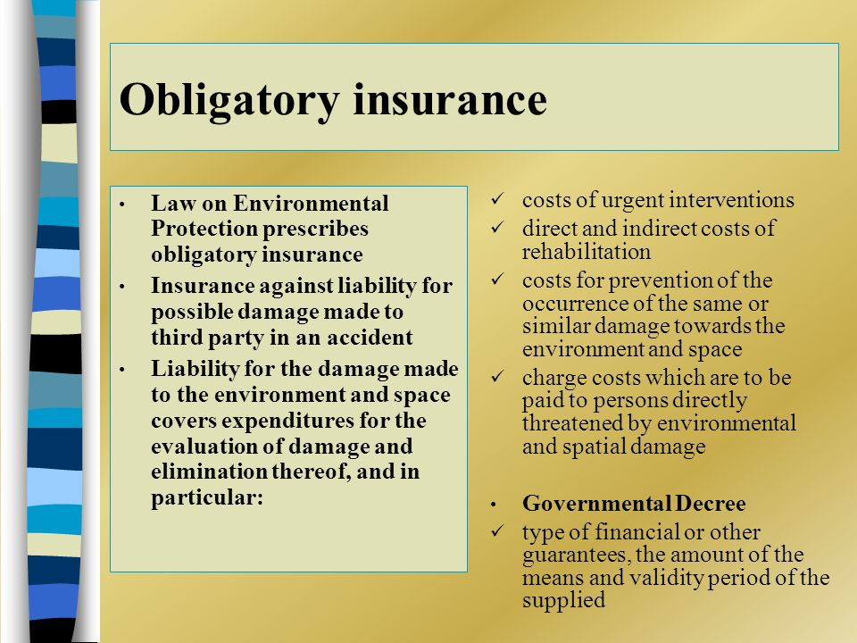 Obligatory insurance Law on Environmental Protection prescribes obligatory insurance Insurance against liability for possible damage made to third party in an accident Liability for the damage made to the environment and space covers expenditures for the evaluation of damage and elimination thereof, and in particular: costs of urgent interventions direct and indirect costs of rehabilitation costs for prevention of the occurrence of the same or similar damage towards the environment and space charge costs which are to be paid to persons directly threatened by environmental and spatial damage Governmental Decree type of financial or other guarantees, the amount of the means and validity period of the supplied