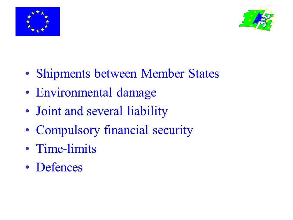 Shipments between Member States Environmental damage Joint and several liability Compulsory financial security Time-limits Defences